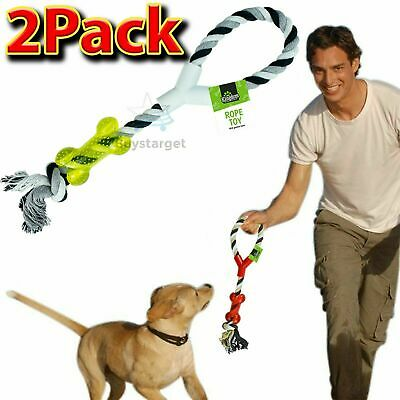 🔥 Heavy Duty Large Strong Pull Rope Toy With Chew Bone Tug Toy Fetch Puppy Dog