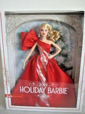 2019 Holiday Signature Barbie Doll Blonde Curls Mattel New In Box