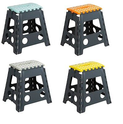 Heavy Duty Strong Tall Folding Step Stool  Seat Assorted Colours  29x 22x 39.5cm