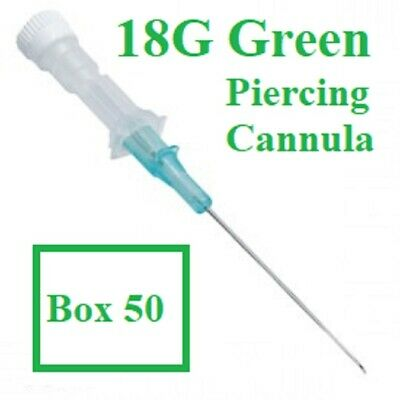 BODY PIERCING IV CANNULA 18G GREEN 1.3mm STERILE BOX 50, FREE DEL **NEW OFFER**