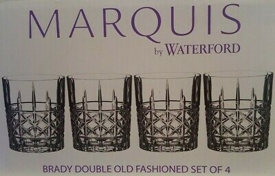 4 Marquis By Waterford Brady Double Old Fashioned Crystal Gray Whiskey Glasses