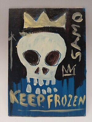 "Jean Michel Basquiat Original Oil on Board "" Samo Keep Frozen "" SIGNED JMB"