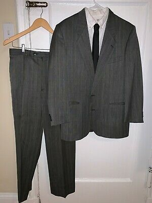 Vintage YVES SAINT LAURENT Gray Plaid Wool Suit 40 - 42