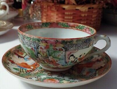"""Antique 19th Century Rose Medallion Cup & Saucer Marked """"China"""" In Rusty Red"""