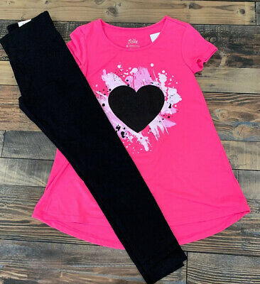 JUSTICE GIRLS Hot Pink Heart SHIRT Solid Black LEGGINGS Outfit Set Nwt Size 10