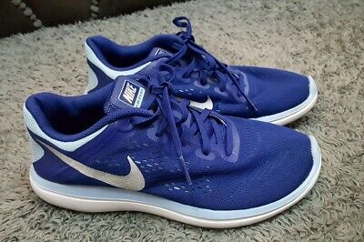 Vgc Older Girls Womens Blue white Nike flex 2016 run running shoes size 5 EU 38