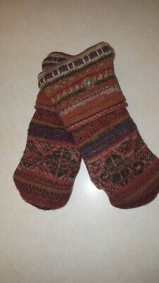 Earth tones/orange handmade fleece lined mittens made from recycled sweaters