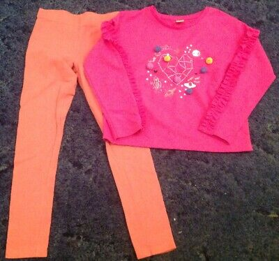 Young Girls - Age 8 -9 Years Pink Patterned Top And Peach Coloured Leggings