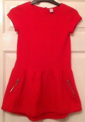 Young Girls - Tu Age 7 Yrs Red Short Sleeved Dress With 2 Decorative Pockets