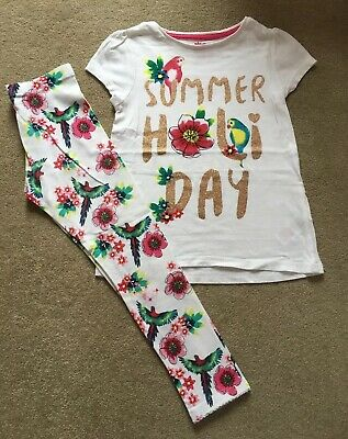 F&F Girls Parrot Tropical Floral Summer Top & Leggings Set - Age 5-6 Years - VGC
