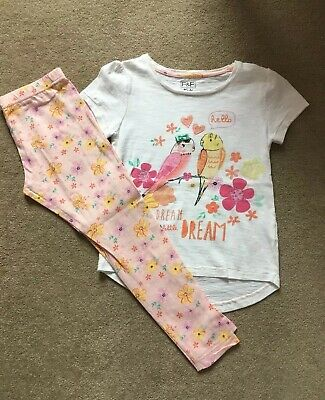 F&F Girls Floral Top & Leggings Set - Age 5-6 Years - VGC
