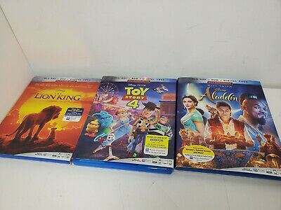 The Lion King Toy Story 4 Aladdin Blu Ray Movies No digital code