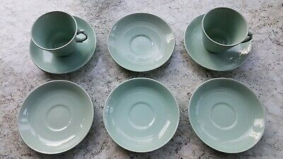 Vintage Woods Beryl Pale Green Tea Cups x 2 and 6 x Saucers Utility Ware 1940s