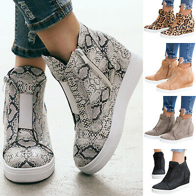 Women Round Toe Wedge Heels Ankle Boots Booties Sneakers Trainers High Top Shoes