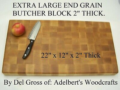 Beautiful Extra Large Solid Hard Maple End Grain Cutting Board, Butcher Block.