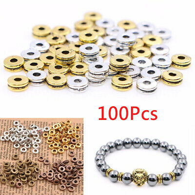 100Pcs Tibetan Silver Charms DIY Spacer Beads For Jewelry Findings 6MM metal Lot