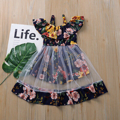 Toddler Kids Baby Girls Cute Flower Vest Floral Ruffle Mesh Dress Summer Clothes