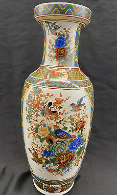 """Chinese porcelain handwork painting Birds  flowers Vase Large 25"""" Red Blue Green"""