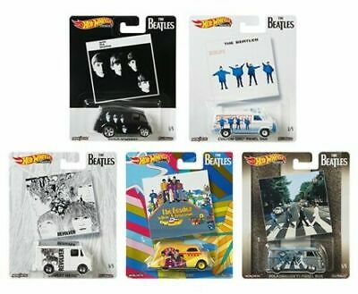 Hot Wheels 2019 Pop Culture 1/64 The Beatles Diecast Cars, Set of 5 DLB45-946C