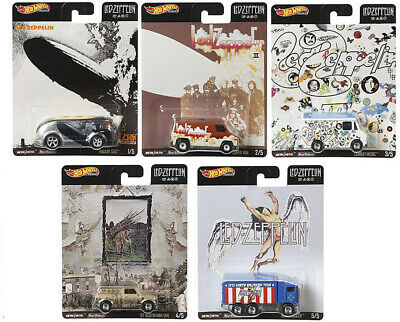 Hot Wheels 2019 Pop Culture 1/64 Led Zeppelin Diecast Cars, Set of 5 DLB45-946E
