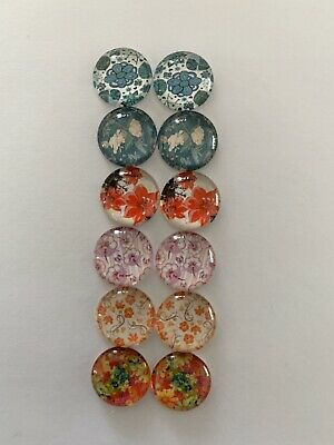 6 Pairs Of 12mm Glass Cabochons #930
