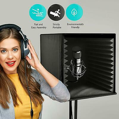 Sound Isolation Recording Shield Box - Microphone Foam Booth Cube, Sound Dampeni