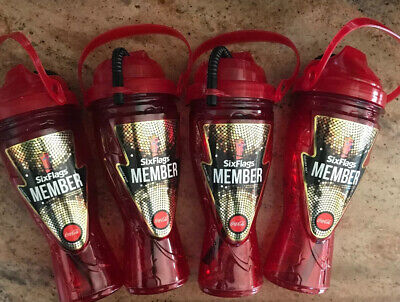 Lot 4 Six Flags Unlimited Free Refill Drink Cup Bottle Red Diamond Elite Member