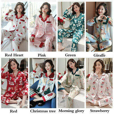Ladies Floral Patterned Satin Pajama Pyjamas Set Long Sleeve Autumn Nightwear Pj
