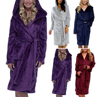 Women Men Dressing Gown Hooded Fleece Fluffy Belt Warm Home Bath Robe Nightwears