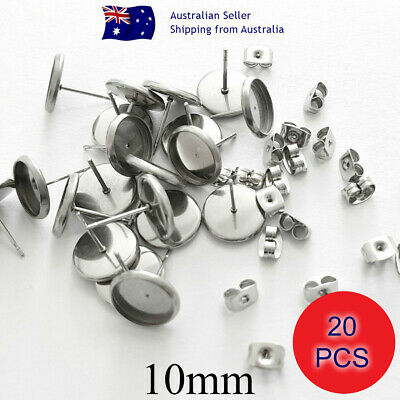 NO FADE 20 Pcs 304 Grade Stainless Steel 10mm Cabochon Stud Earring Settings
