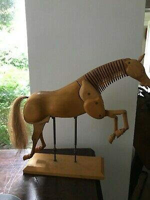 Large Articulated Fully Jointed Wooden Artist's Mannequin Horse on Stand