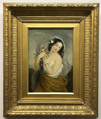 19th Century antique Victorian oil painting canvas portrait of a young lady