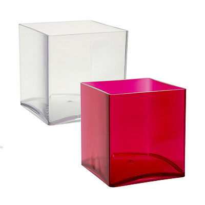 15cm Red / Clear Acrylic Cube Vase Small Durable Plastic Design Container