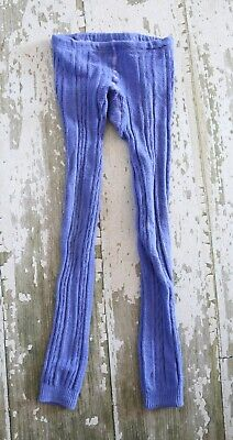 MINI BODEN Blue purple Cable Knit Footless Tights Girls Size 11 12
