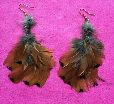 Natural gold brown pheasant feather dangle earings gold hooks hippy tribal festy