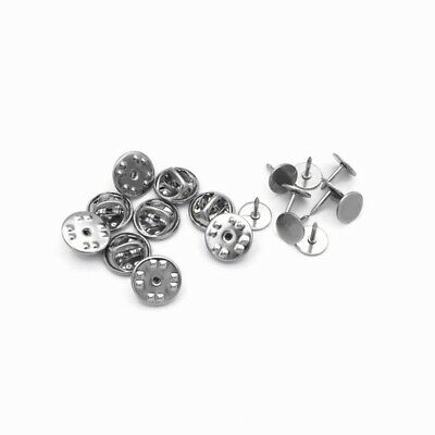 10 Sets Stainless Steel Tie Tacks with 8mm Pad Setting