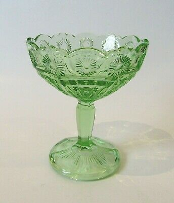 Green Depression Glass Pedestal Compote Bowl Footed Candy Dish