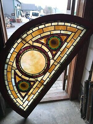 Sg 3148 Antique arched stained glass window 30 x 50.5 angel face