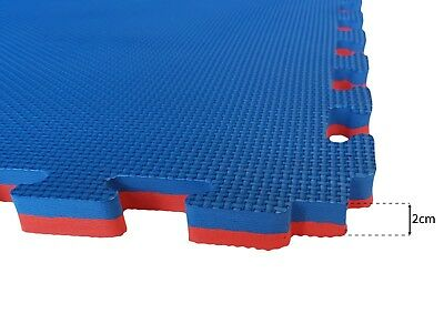 EVERMAT® 1sqm Martial Arts Tatami 20mm Judo Karate Gym Floor Mat Red and Blue