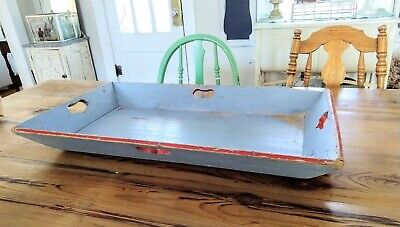 Antique Primitive Apple Tray 19th Ct. Original Heart Handles Folk Art AAFA large