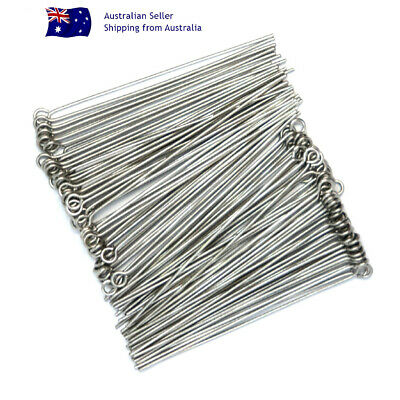 NO FADE 100 x 304 STAINLESS STEEL STRAIGHT Eye Pins 50mm x 0.7mm 21 Gauge