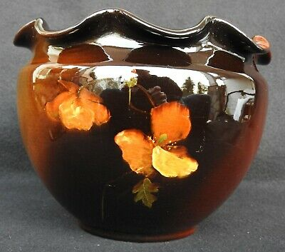 Antique Weller Pottery Louwelsa Jardiniere Made in USA from 1896-1924 Floral Art