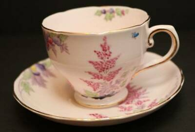 Vintage Tea Cup & Saucer Royal Tuscan Pink Floral Pansy Snap-Dragon Berry 8685H