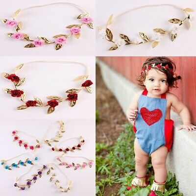 Floral Crown Boy Girl Baby Garland Gold Leaves Hair Band Rose Flower Wreath