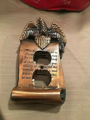 Vintage Copper Patriotic Outlet Cover 2 Plug EAGLE T. Jefferson Freedom Quote