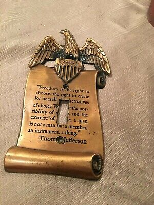 Vintage Copper Patriotic Single Light Cover EAGLE T. Jefferson Freedom Quote
