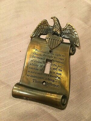 Vintage Brass Patriotic Single Light Cover EAGLE T. Jefferson Freedom Quote