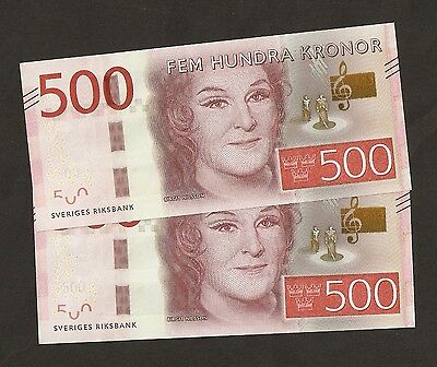 2015 Sweden  500 Kronor New Series  Uncirculated !!!