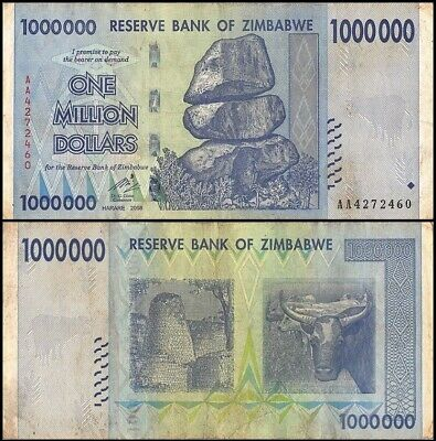ZIMBABWE 1 Million Dollars, 2008, P-77, 100 Trillion Series, World Currency