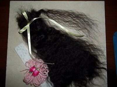 """*SOFT BLACK""""~VERY CURLY 10in. FOR REBORN~SILKY~1/2 OZ~YEARLING ANGORA MOHAIR"""